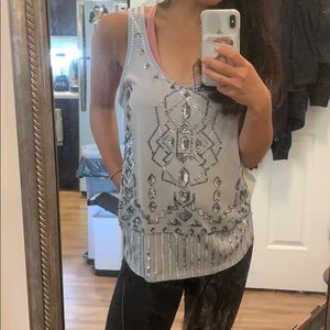 Light silver sequined tank top